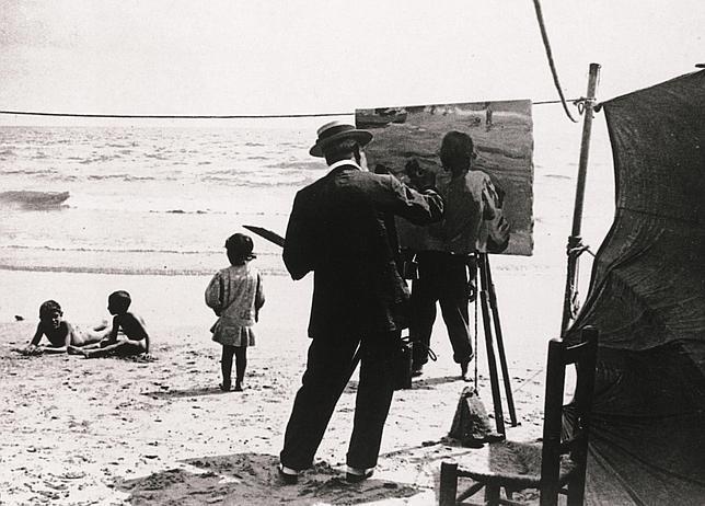 Sorolla pintando «Niños en la playa»