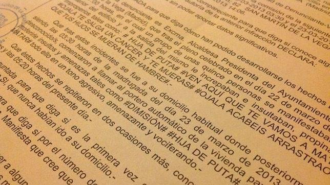 La denuncia presentada por la regidora de San Martín de la Vega, por presuntas agresiones verbales y amenazas