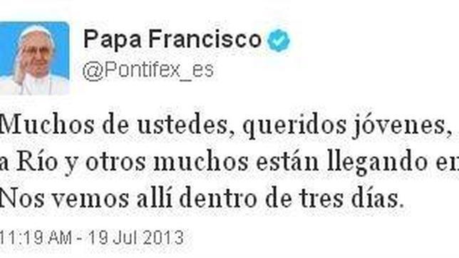 El Papa, a los jóvenes de la JMJ en Twitter: «Nos vemos en tres días»