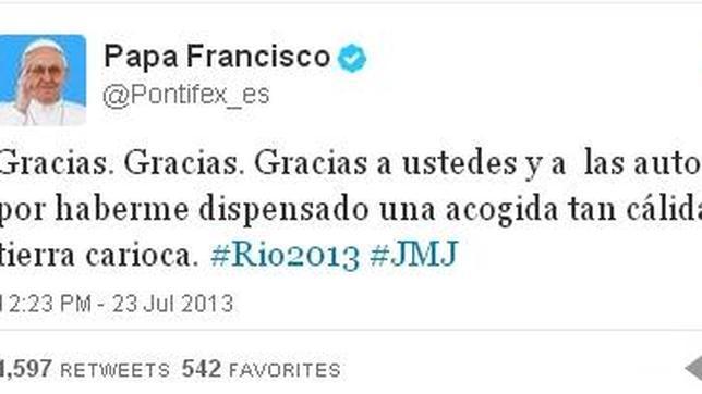 El Papa da gracias en Twitter «por una acogida tan cálida en tierra carioca»