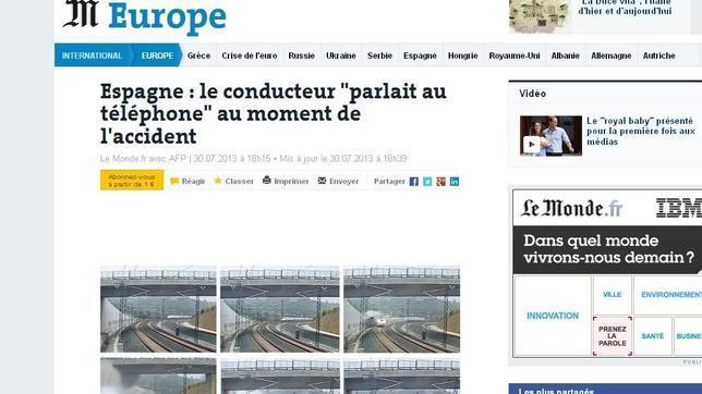 La cabecera digital del francés «Le Monde» retrata con una cadena de imágenes el fatal accidente y lleva a su titular que el conductor «hablaba por teléfono»
