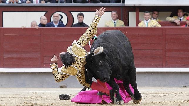 David Mora, arrollado en su primer toro