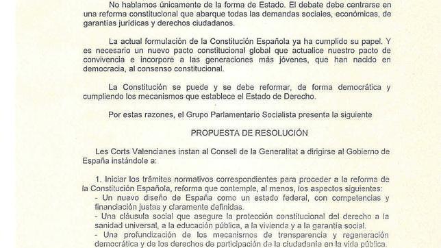 El PSPV pide en las Cortes reformar la Constitución y un Estado federal