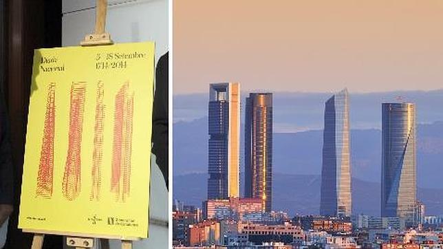 Cartel de los actos de la Diada junto a una imagen de las cuatro torres de Madrid