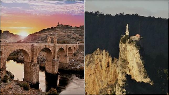 El puente romano de Alcántara (Extremadura), a la izquierda y la ermita de San Felices (La Rioja), a la derecha