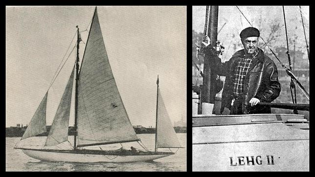 Vito Dumas, en el Lehg II, el velero con el que dio la vuelta al mundo