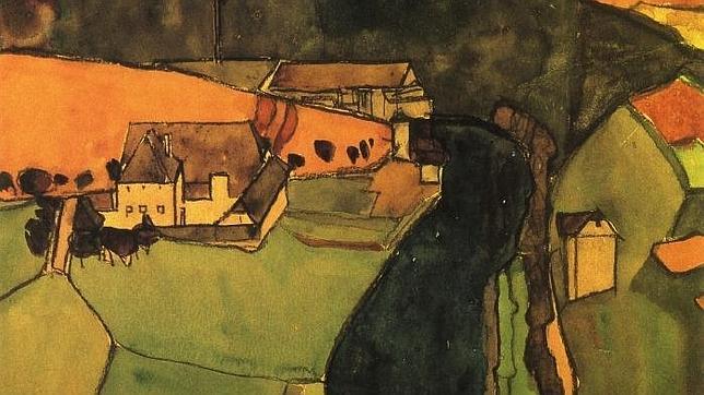 «Pueblo en el río Azul» (Egon Schiele, 1910)