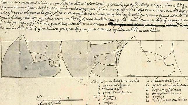 Patrón de la casaca de teniente general en las ordenanzas de 1724, vigentes cuando luchó Blas de Lezo en Cartagena