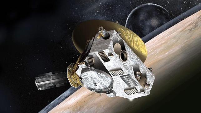 Recreación de la sonda New Horizons acercándose al pequeño Plutón