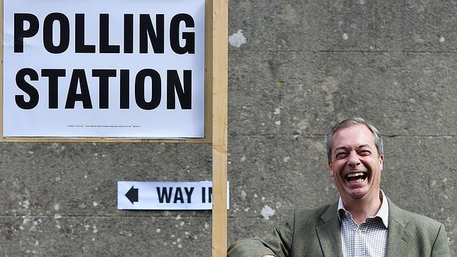 Nigel Farage, tras votar en las últimas elecciones europeas cerca de Biggin Hill, al sur de Londres