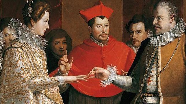 Detalle de las «Nupcias de María de Médici con Enrique IV de Francia» de Jacopo Chimenti (1600)
