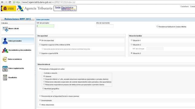 Portal de la Agencia Tributaria con la calculadora de IRPF