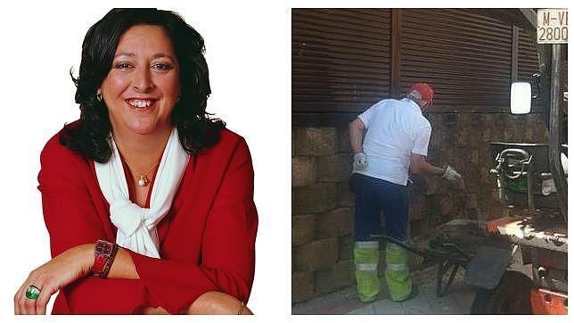 Un obrero municipal (izquierda) repara la fachada de la vicealcaldesa, Teresa Fernández (derecha)