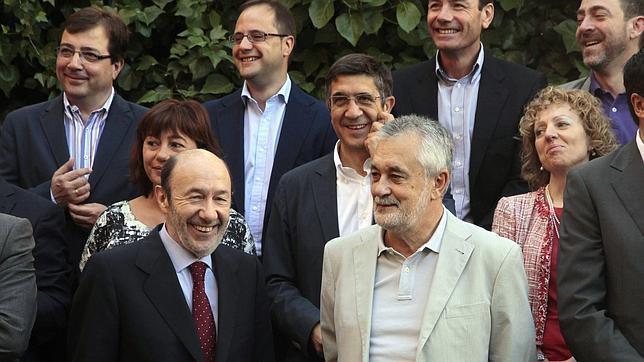José Antonio Griñán, Patxi López, Roberto Jiménez y el propio Tomás Gómez, en una imagen de archivo