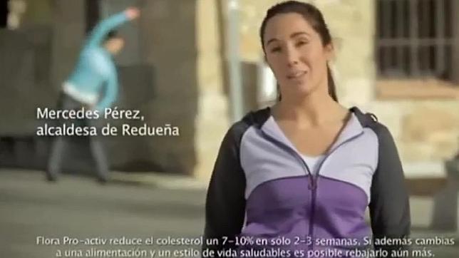 Captura del momento en el que la alcaldesa aparece en el anuncio sobre el colesterol