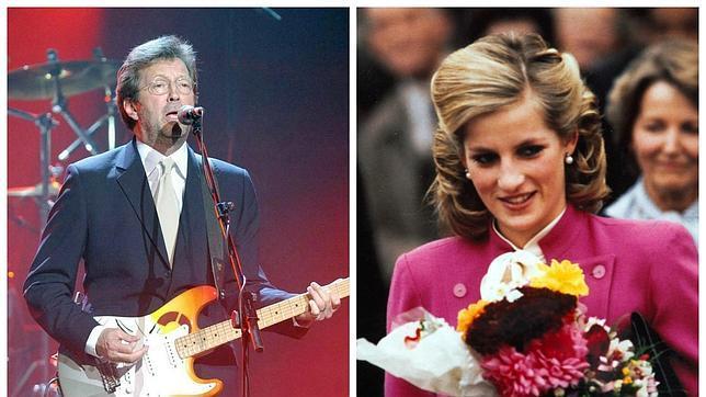 El guitarrista Eric Clapton y  Lady Di