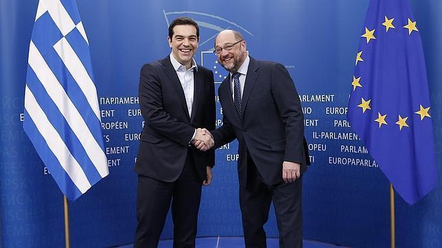 El primer ministro griego y el presidente del Parlamento Europeo