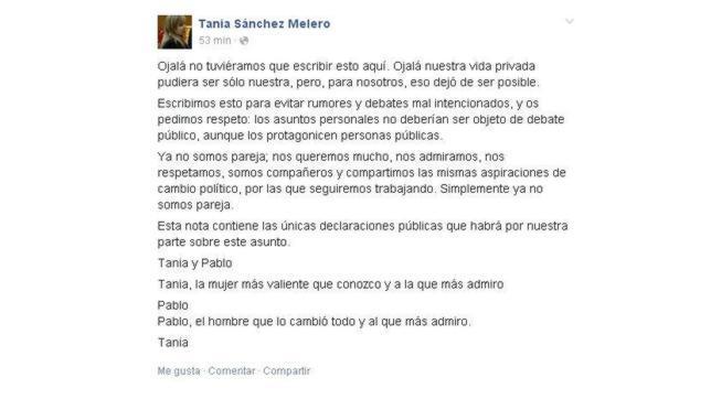 Carta publicada en la cuenta de Tania Sánchez Melero
