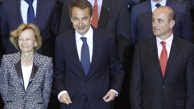 Elena Salgado, Rodríguez Zapatero y Miguel Sebastián