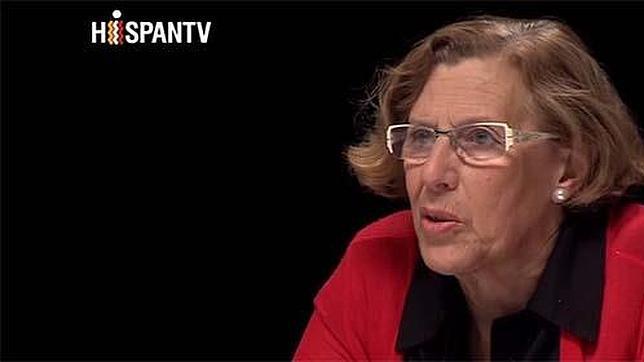 Captura de un instante del debate, moderado por Pablo Iglesias, en el que partició Manuela Carmena