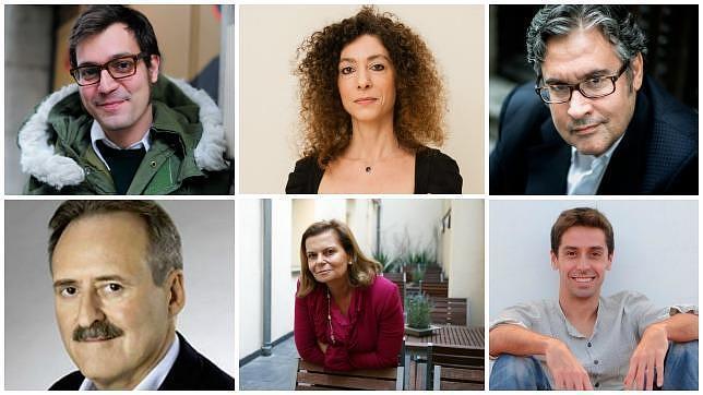 De izquierda a derecha y de arriba a abajo: Miqui Otero, Leila Guerriero, Juan Manuel de Prada, Jorge Molist, Carme Riera y Pablo Gutiérrez