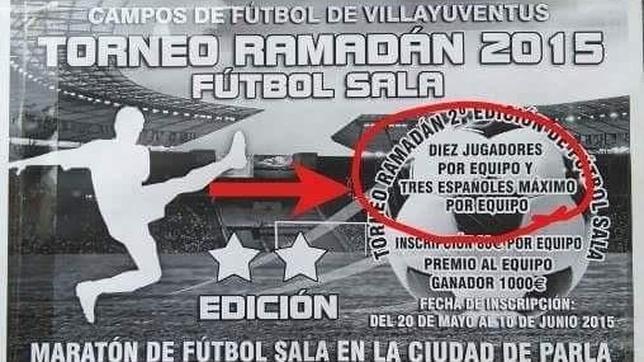 Cartel informativo sobre el torneo de fútbol sala