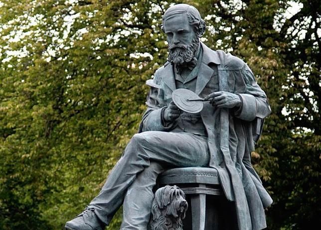 Estatua de James Clerk Maxwell y su perro Toby, en Edimburgo