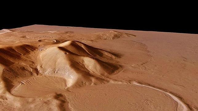 Un crácter en la superficie de Marte