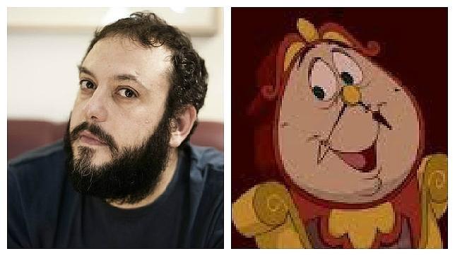 Guillermo Zapata, en su foto de Twitter; y Ding Dong, uno de los personajes de la película «La Bella y la Bestia»