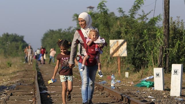 Emigrante sirios en las vías de Röszke