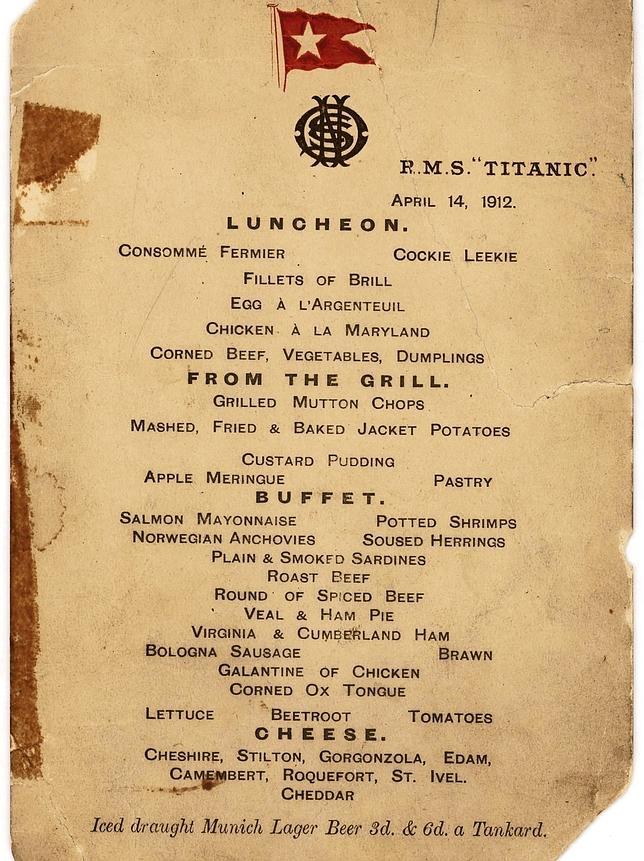 El último menú que tomaron los pasajeros de primera clase del Titanic