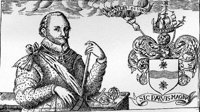 Sir Francis Drake, retratado con uno de sus blasones