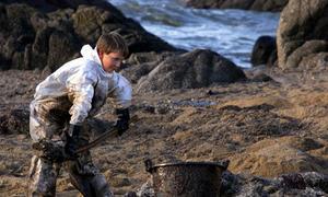 Un niño limpia el petróleo de una playa dañada por el naufragio del «Erika»   REUTERS