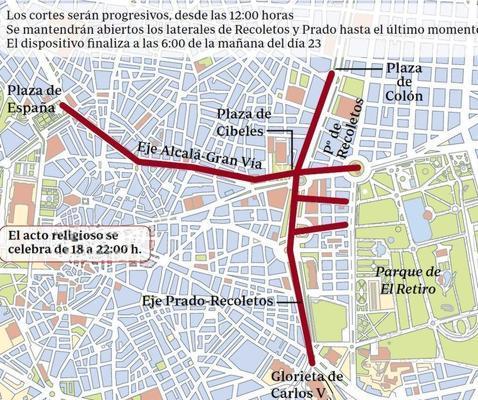 Un encuentro religioso vuelve a cerrar de nuevo el centro de Madrid