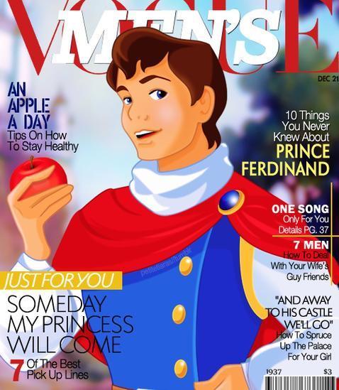 Los príncipes de Disney, portada de revistas de moda
