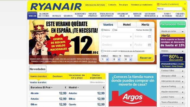 La nueva publicidad de Ryanair: «ofertas de rescate a España» por 12,99 euros