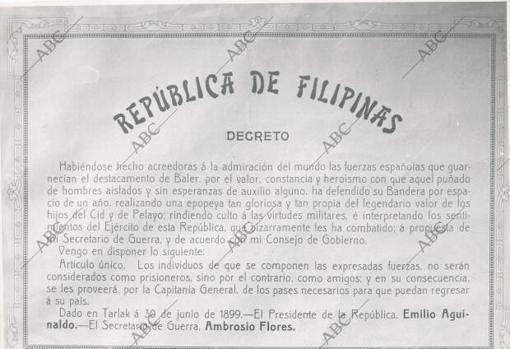 Decreto firmado por Aguinaldo sobre los héroes de Baler