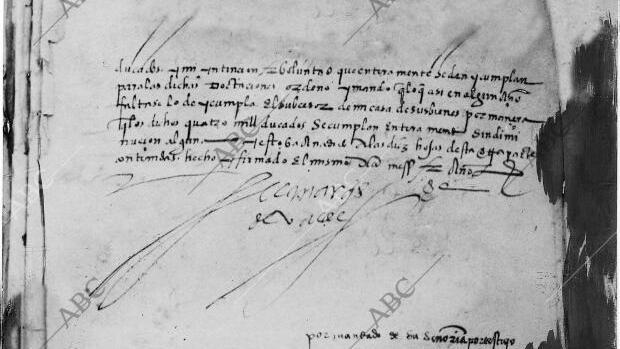 Última página del testamento de Hernán Cortes fotografiada en 1927