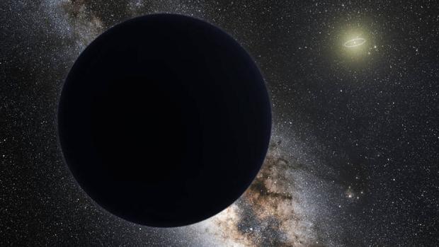 Ilustración de un posible Planeta Nueve en el borde de nuestro Sistema Solar. La órbita de Neptuno se muestra como un anillo brillante alrededor del Sol