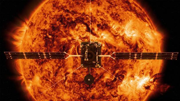 Impresión artística de Solar Orbiter frente a una tormenta solar