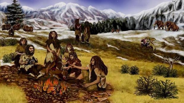 Neandertales alrededor del fuego