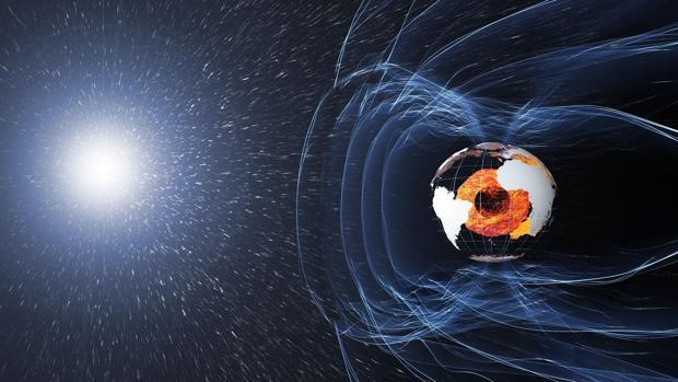 El campo magnético de la Tierra es generado por el núcleo (en naranja). Protege la atmósfera frente al viento solar y la superficie de los rayos cósmicos. En periodos geológicos se debilita y los polos se invierten