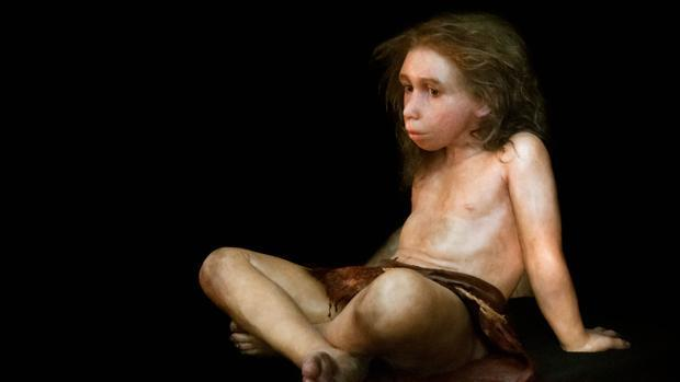 Recreación de un niño neandertal