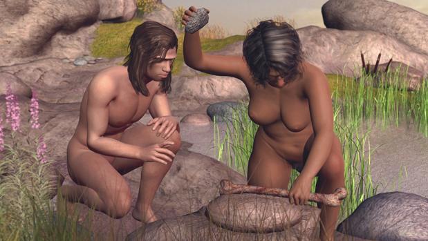 Recreación de una mujer y un hombre de la especie Homo antecessor