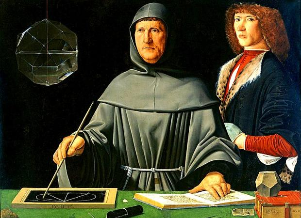 Luca Pacioli vestido de franciscano, rodeado de elementos matemáticos y trabajando. La persona representada al fondo es su pupilo, seguramente Durero
