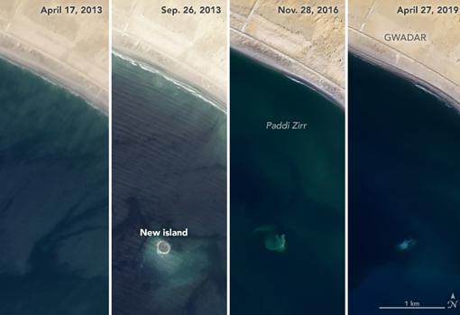 Varias fotografías de satélite de la isla de Zalzala Koh
