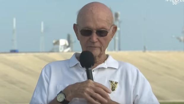 Michael Collins en la plataforma de despeque del Apolo 11