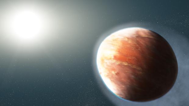 Representación de WASP-12b. La radiación de su estrella, muy próxima, ioniza hierro y magnesio, que son expulsados
