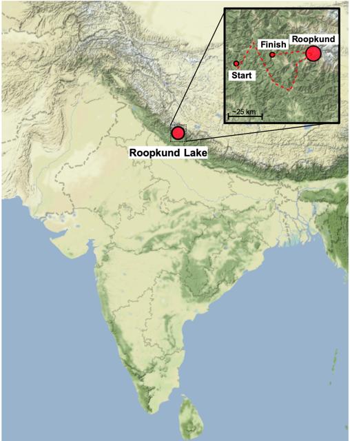 Mapa que muestra la ubicación del lago Roopkund en el Himalaya, con el recuadro que muestra la ruta de la peregrinación de Nanda Devi Raj Jat