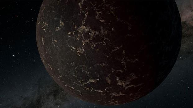 Representación del exoplaneta LHS 3844b. Su superficie es oscura y se enfría y se calienta drásticamente a medida que gira alrededor de su estrella